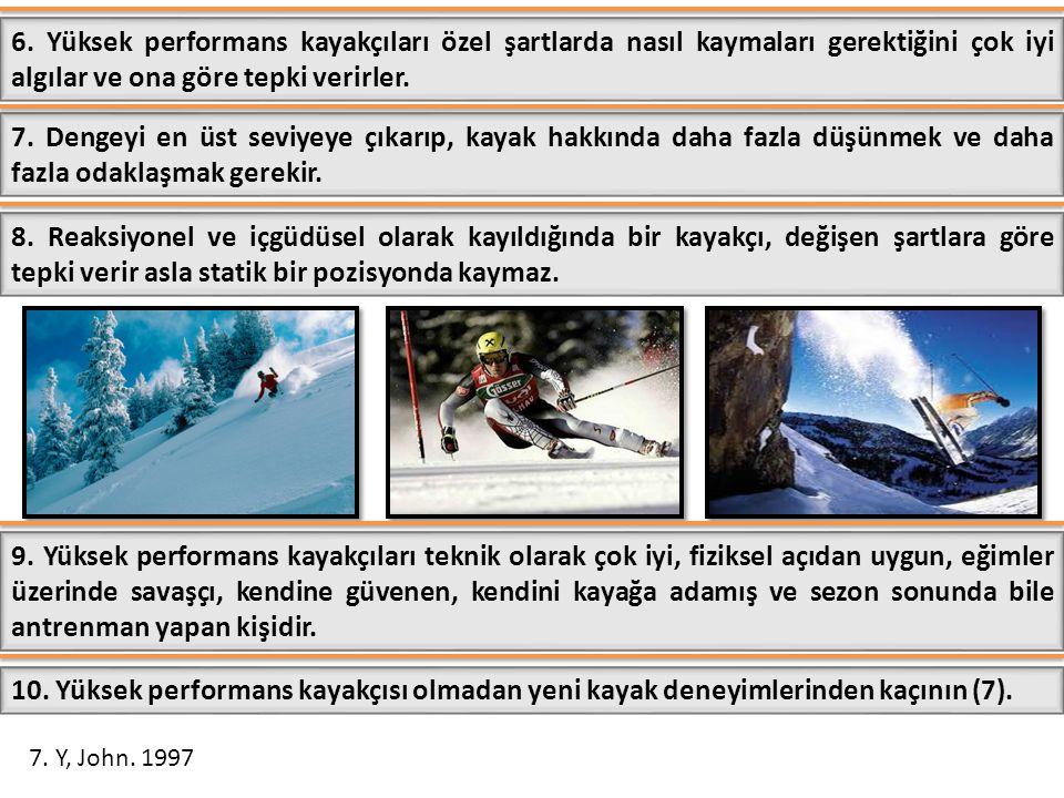 6. Yüksek performans kayakçıları özel şartlarda nasıl kaymaları gerektiğini çok iyi algılar ve ona göre tepki verirler.