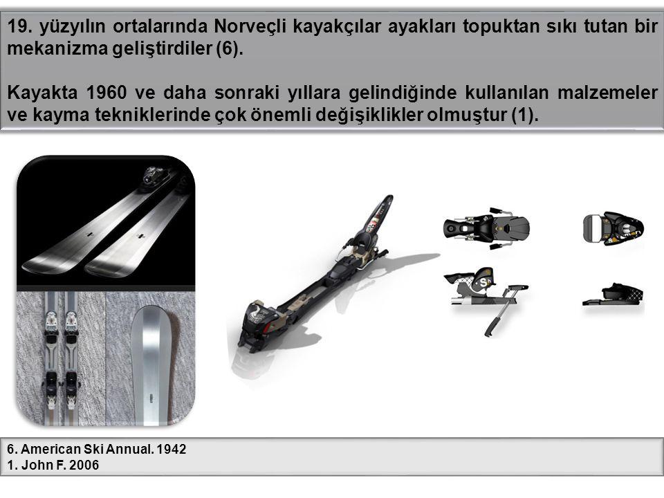 19. yüzyılın ortalarında Norveçli kayakçılar ayakları topuktan sıkı tutan bir mekanizma geliştirdiler (6).
