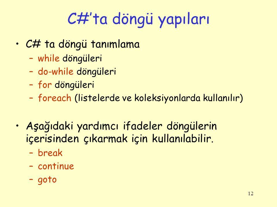 C#'ta döngü yapıları C# ta döngü tanımlama