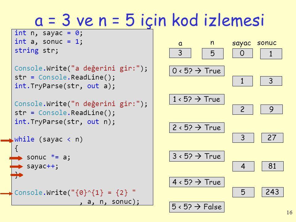 a = 3 ve n = 5 için kod izlemesi