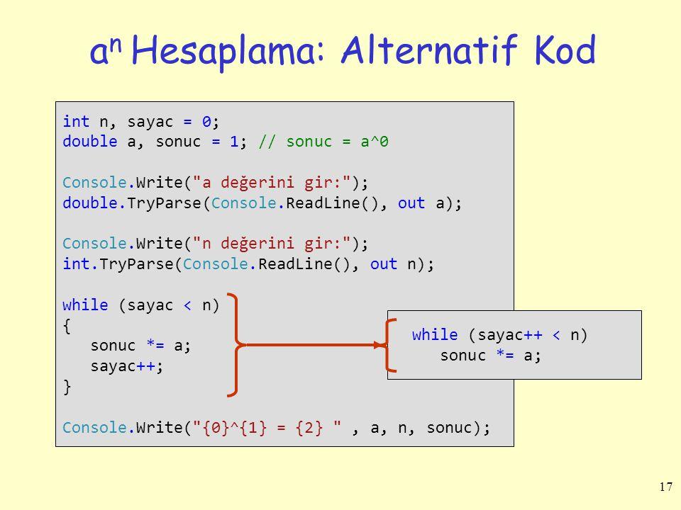 an Hesaplama: Alternatif Kod
