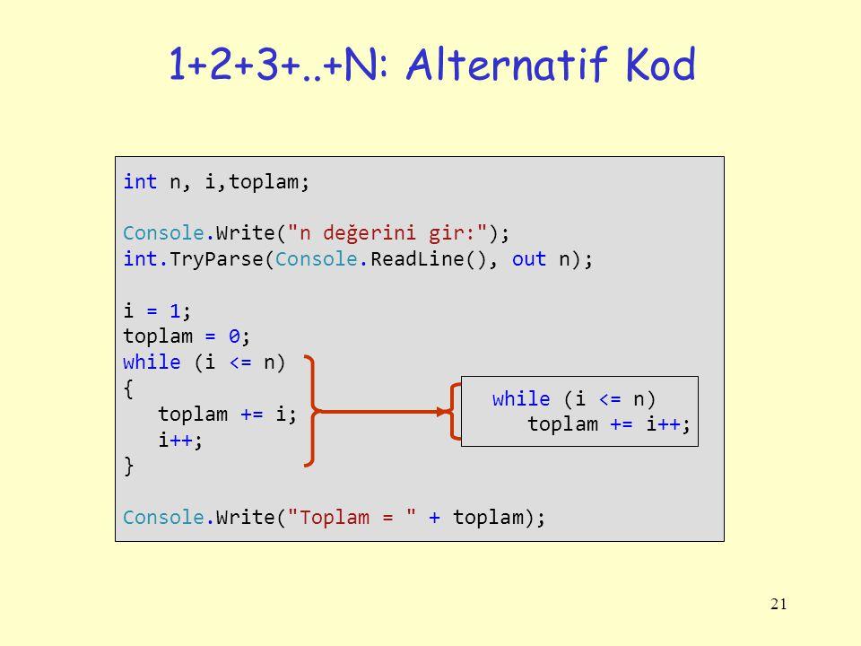 1+2+3+..+N: Alternatif Kod int n, i,toplam;