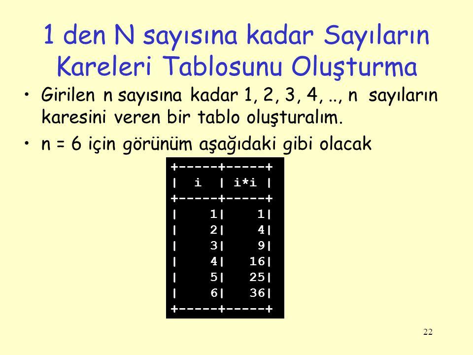 1 den N sayısına kadar Sayıların Kareleri Tablosunu Oluşturma