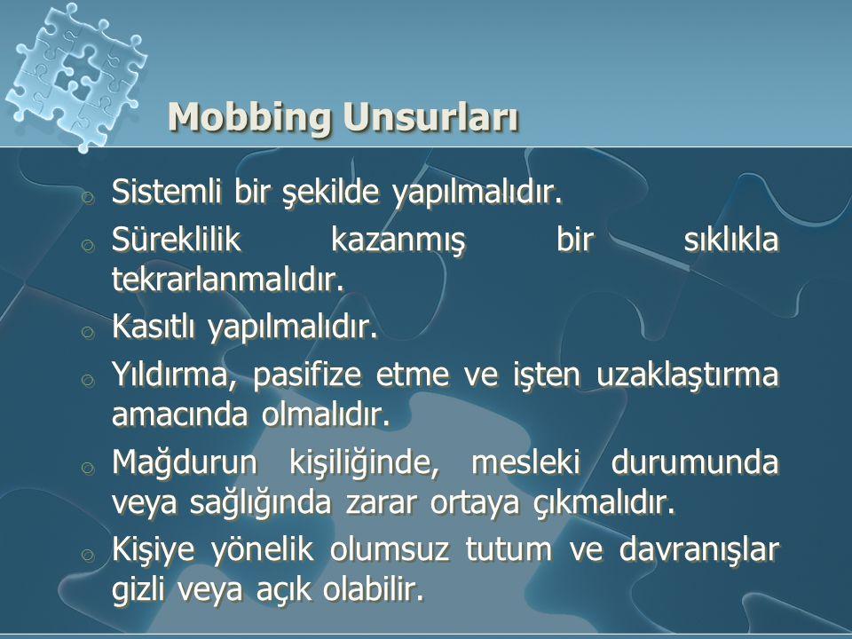 Mobbing Unsurları Sistemli bir şekilde yapılmalıdır.