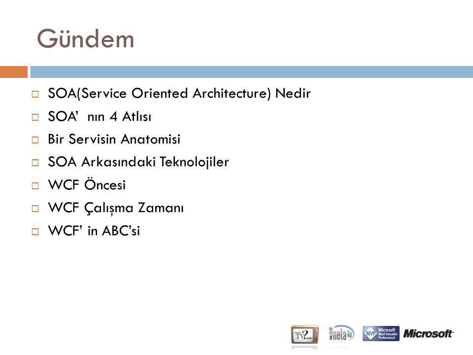 Gündem SOA(Service Oriented Architecture) Nedir SOA' nın 4 Atlısı