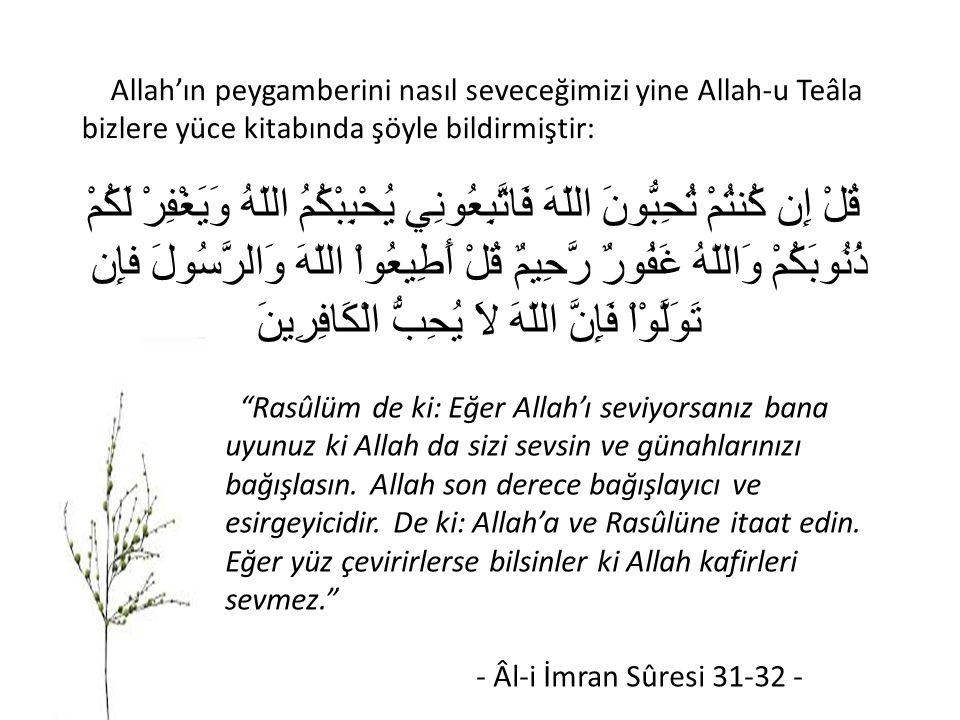Allah'ın peygamberini nasıl seveceğimizi yine Allah-u Teâla bizlere yüce kitabında şöyle bildirmiştir: