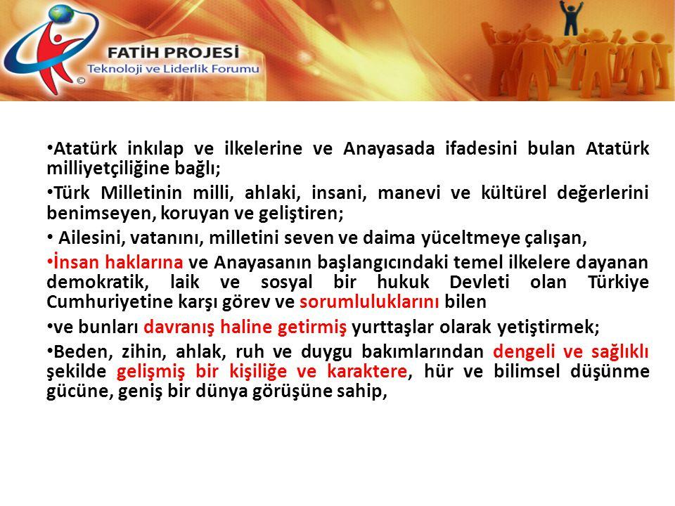 Atatürk inkılap ve ilkelerine ve Anayasada ifadesini bulan Atatürk milliyetçiliğine bağlı;