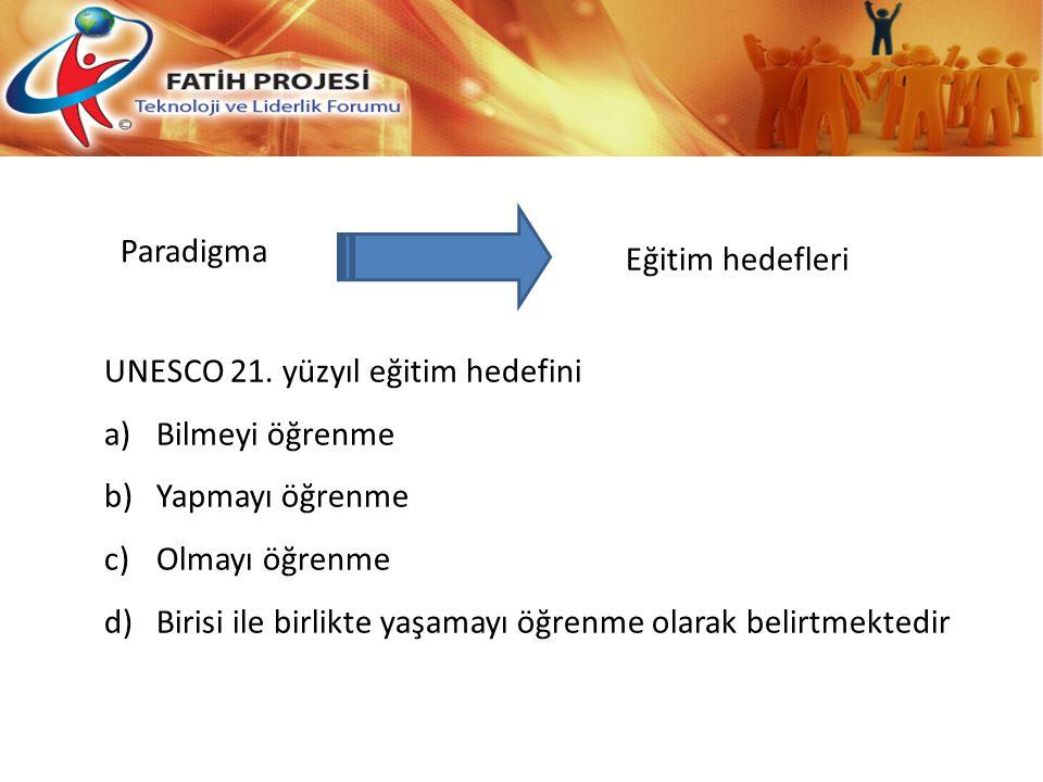 Paradigma Eğitim hedefleri. UNESCO 21. yüzyıl eğitim hedefini. Bilmeyi öğrenme. Yapmayı öğrenme.