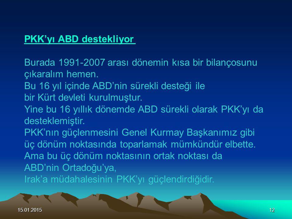 PKK'yı ABD destekliyor