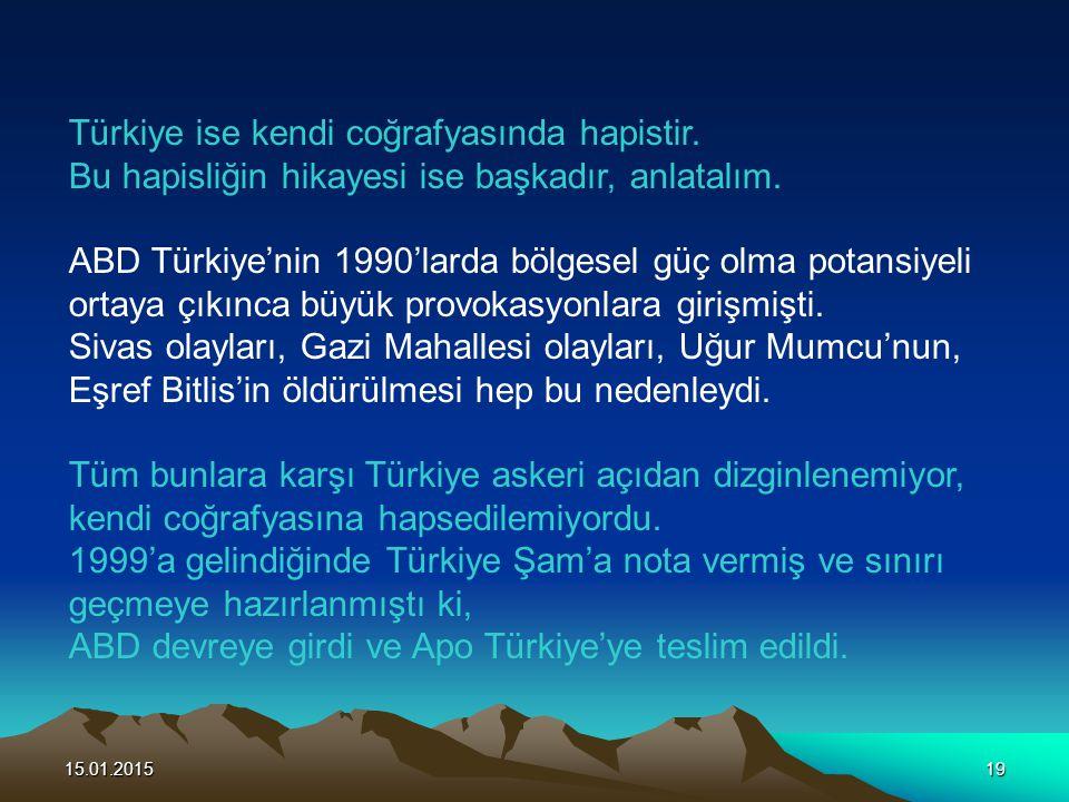 Türkiye ise kendi coğrafyasında hapistir.