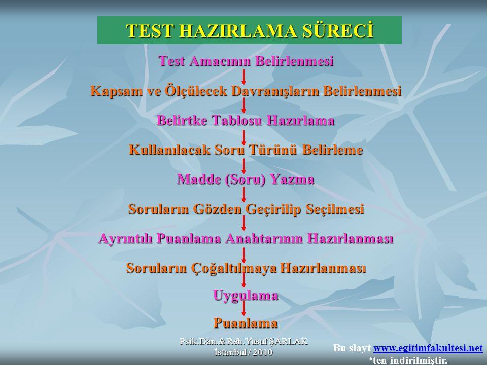 TEST HAZIRLAMA SÜRECİ Test Amacının Belirlenmesi