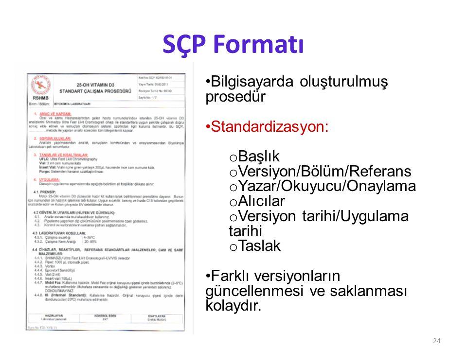 SÇP Formatı Bilgisayarda oluşturulmuş prosedür Standardizasyon: Başlık