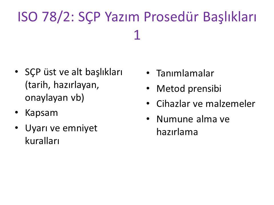 ISO 78/2: SÇP Yazım Prosedür Başlıkları 1