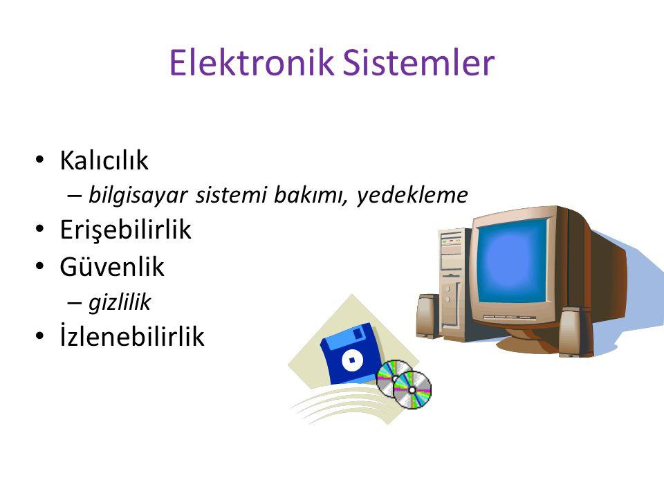 Elektronik Sistemler Kalıcılık Erişebilirlik Güvenlik İzlenebilirlik