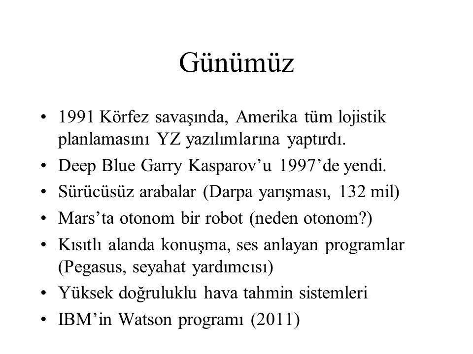 Günümüz 1991 Körfez savaşında, Amerika tüm lojistik planlamasını YZ yazılımlarına yaptırdı. Deep Blue Garry Kasparov'u 1997'de yendi.