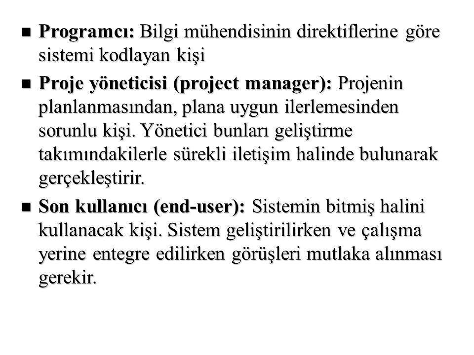 Programcı: Bilgi mühendisinin direktiflerine göre sistemi kodlayan kişi