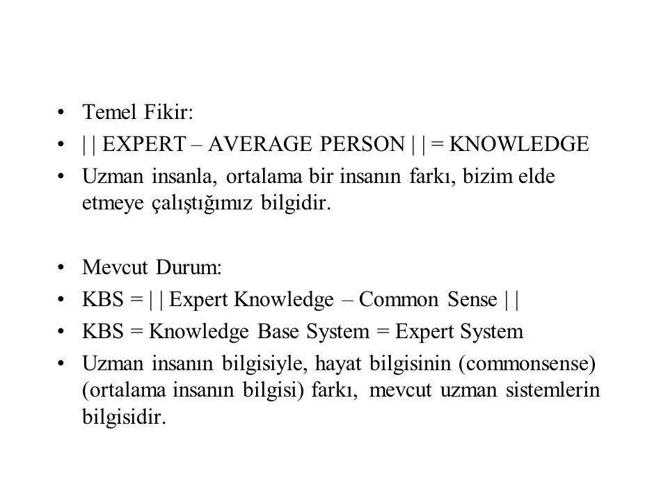 Temel Fikir: | | EXPERT – AVERAGE PERSON | | = KNOWLEDGE. Uzman insanla, ortalama bir insanın farkı, bizim elde etmeye çalıştığımız bilgidir.