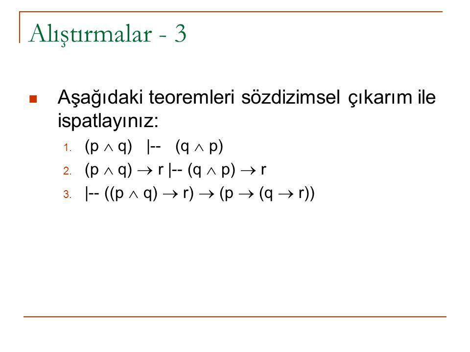 Alıştırmalar - 3 Aşağıdaki teoremleri sözdizimsel çıkarım ile ispatlayınız: (p  q) |-- (q  p)