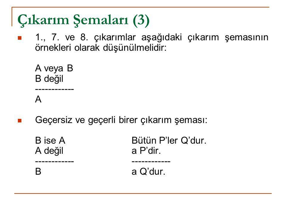 Çıkarım Şemaları (3) 1., 7. ve 8. çıkarımlar aşağıdaki çıkarım şemasının örnekleri olarak düşünülmelidir: