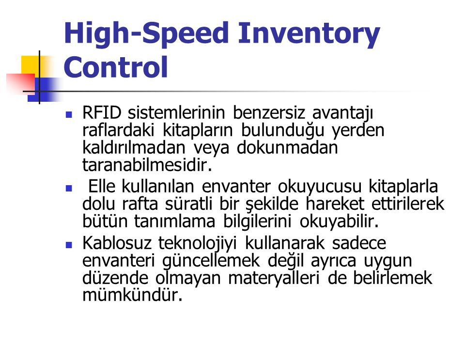 High-Speed Inventory Control