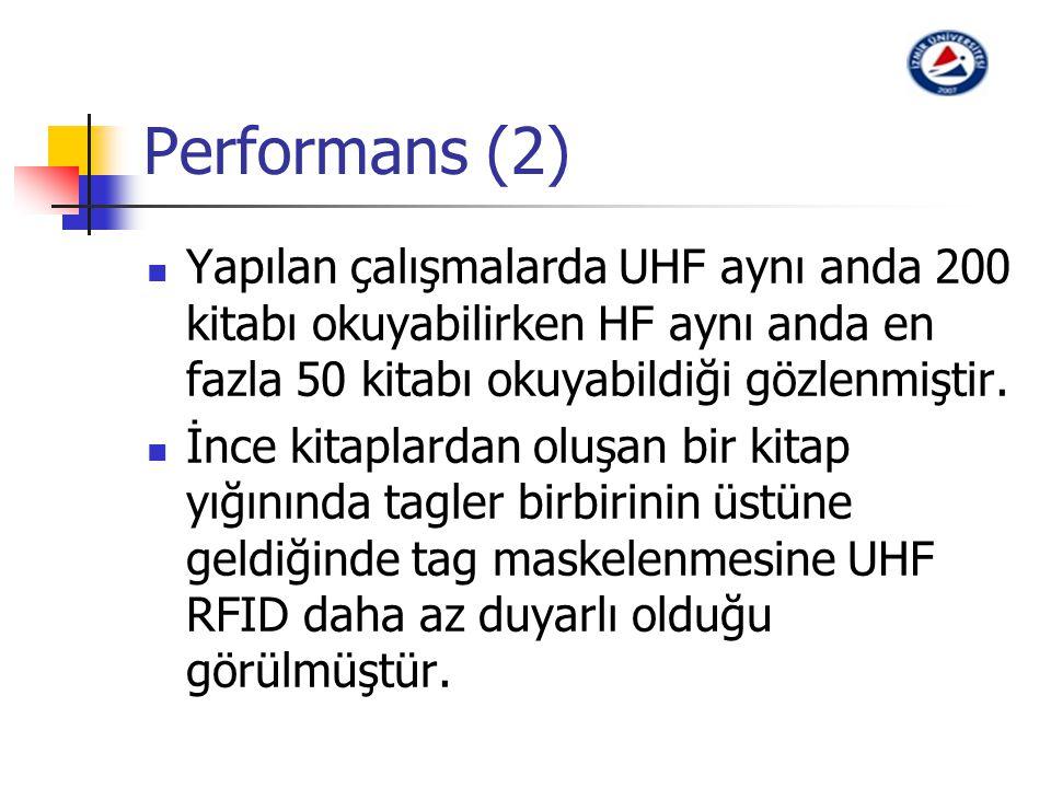 Performans (2) Yapılan çalışmalarda UHF aynı anda 200 kitabı okuyabilirken HF aynı anda en fazla 50 kitabı okuyabildiği gözlenmiştir.