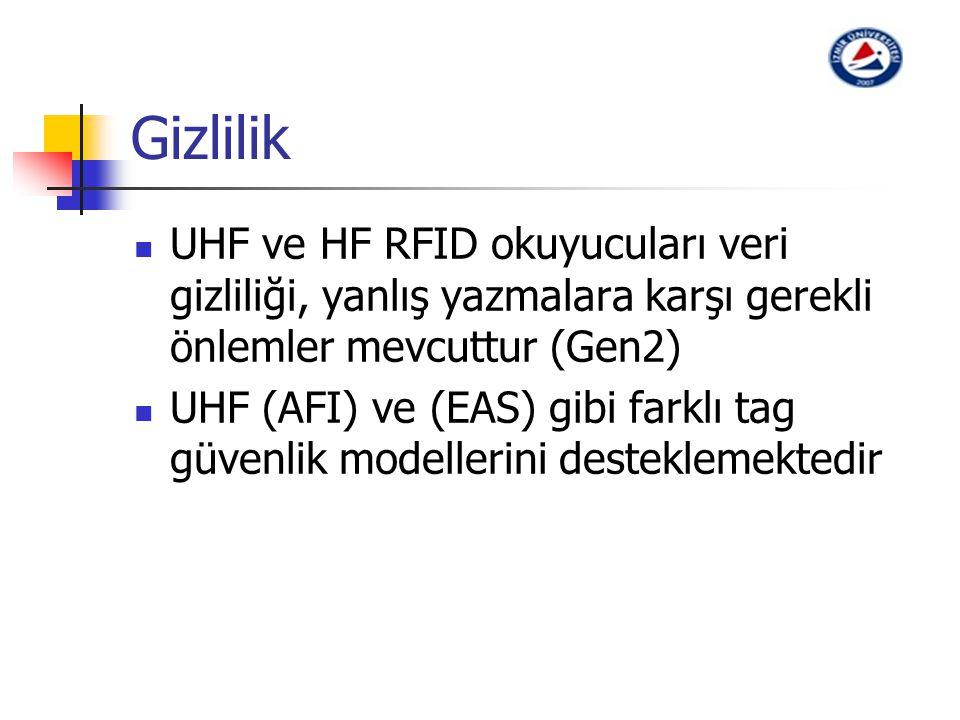 Gizlilik UHF ve HF RFID okuyucuları veri gizliliği, yanlış yazmalara karşı gerekli önlemler mevcuttur (Gen2)