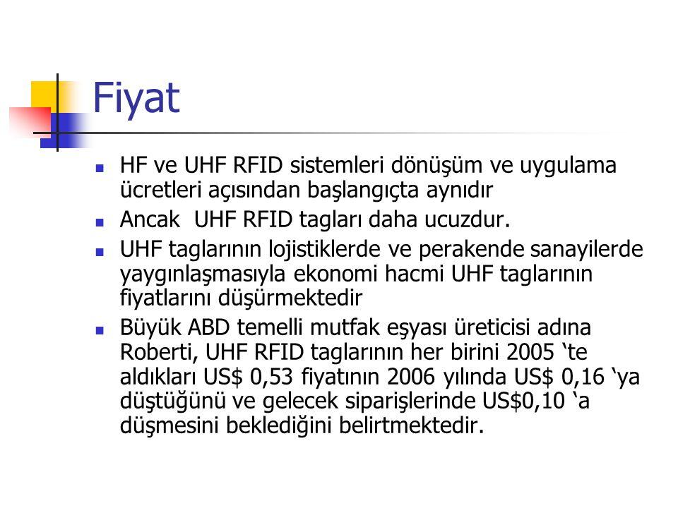 Fiyat HF ve UHF RFID sistemleri dönüşüm ve uygulama ücretleri açısından başlangıçta aynıdır. Ancak UHF RFID tagları daha ucuzdur.