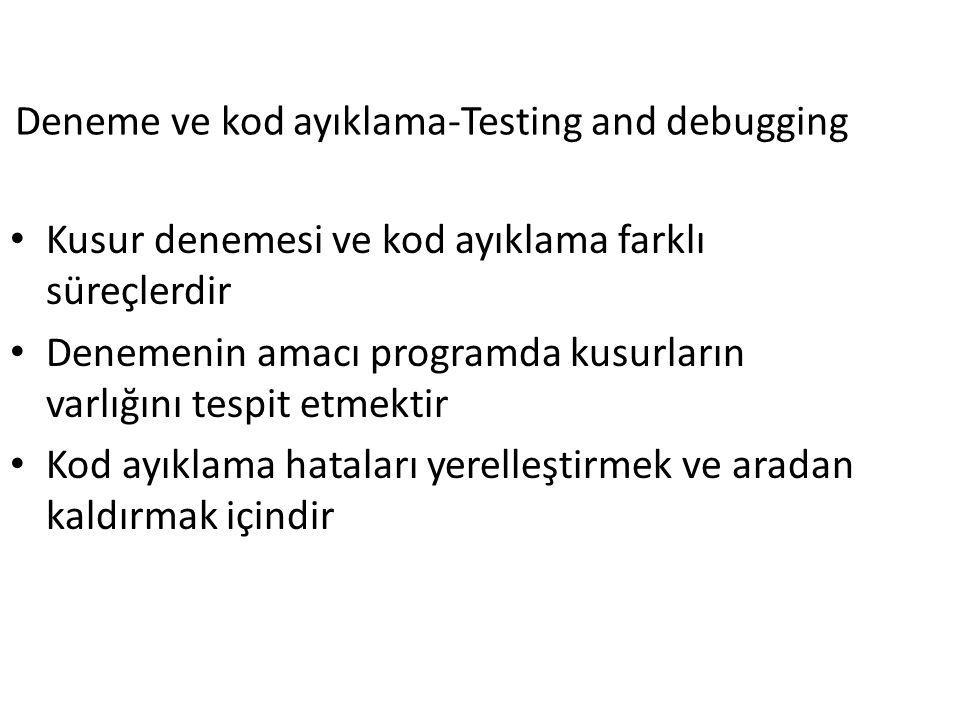 Deneme ve kod ayıklama-Testing and debugging