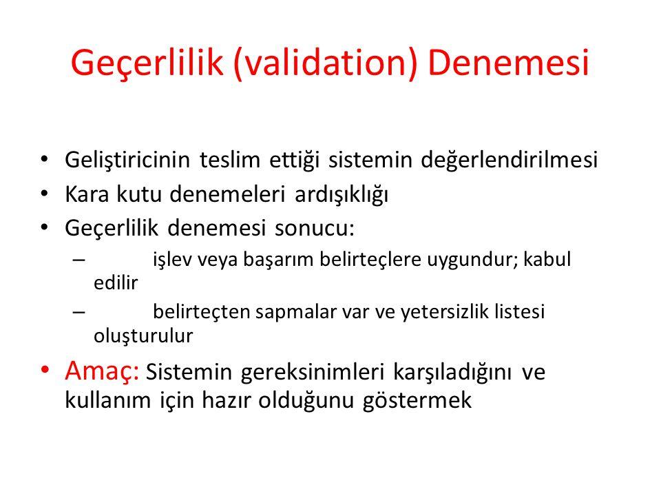 Geçerlilik (validation) Denemesi