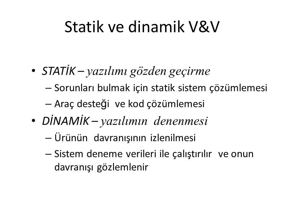 Statik ve dinamik V&V STATİK – yazılımı gözden geçirme