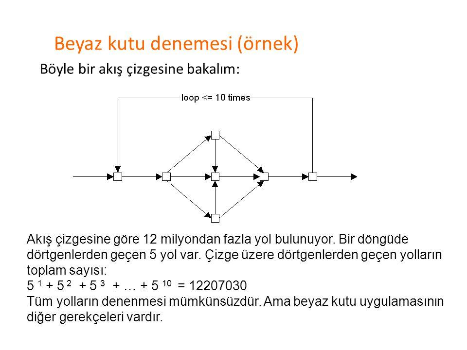Beyaz kutu denemesi (örnek)