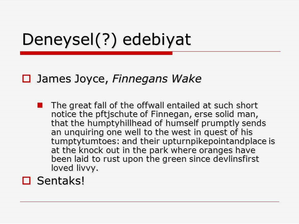 Deneysel( ) edebiyat James Joyce, Finnegans Wake Sentaks!