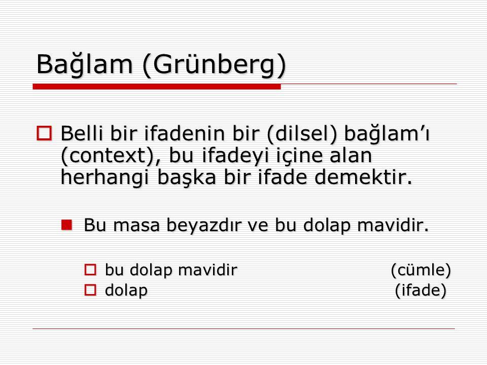 Bağlam (Grünberg) Belli bir ifadenin bir (dilsel) bağlam'ı (context), bu ifadeyi içine alan herhangi başka bir ifade demektir.