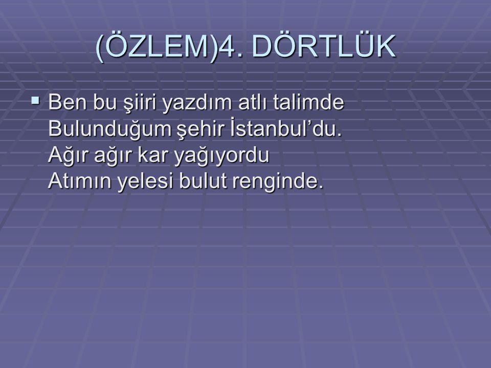 (ÖZLEM)4. DÖRTLÜK Ben bu şiiri yazdım atlı talimde Bulunduğum şehir İstanbul'du.
