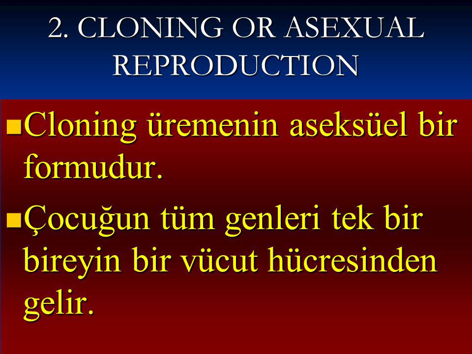 2. CLONING OR ASEXUAL REPRODUCTION