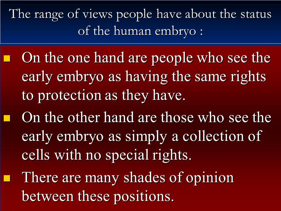 The range of views people have about the status of the human embryo :