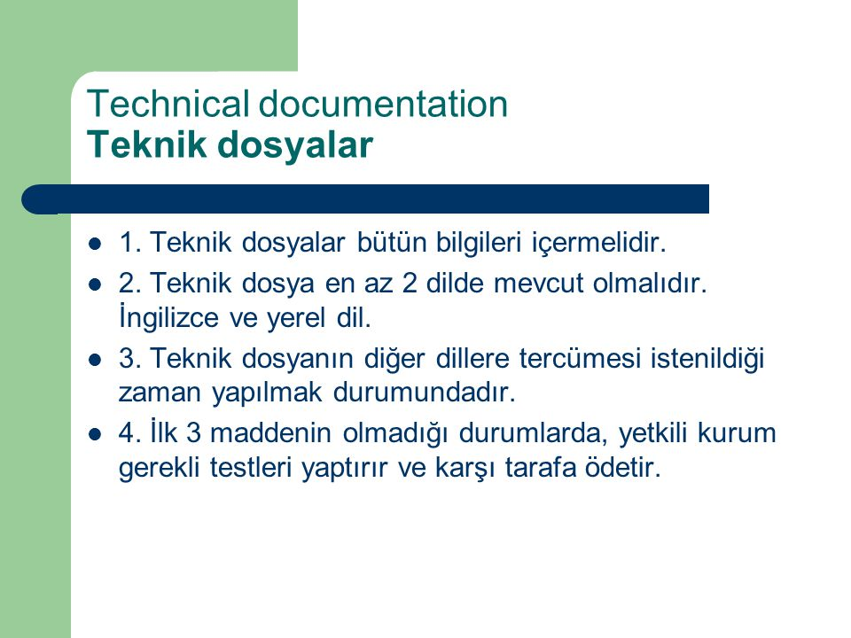 Technical documentation Teknik dosyalar