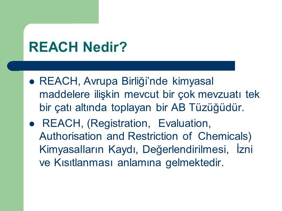 REACH Nedir REACH, Avrupa Birliği'nde kimyasal maddelere ilişkin mevcut bir çok mevzuatı tek bir çatı altında toplayan bir AB Tüzüğüdür.