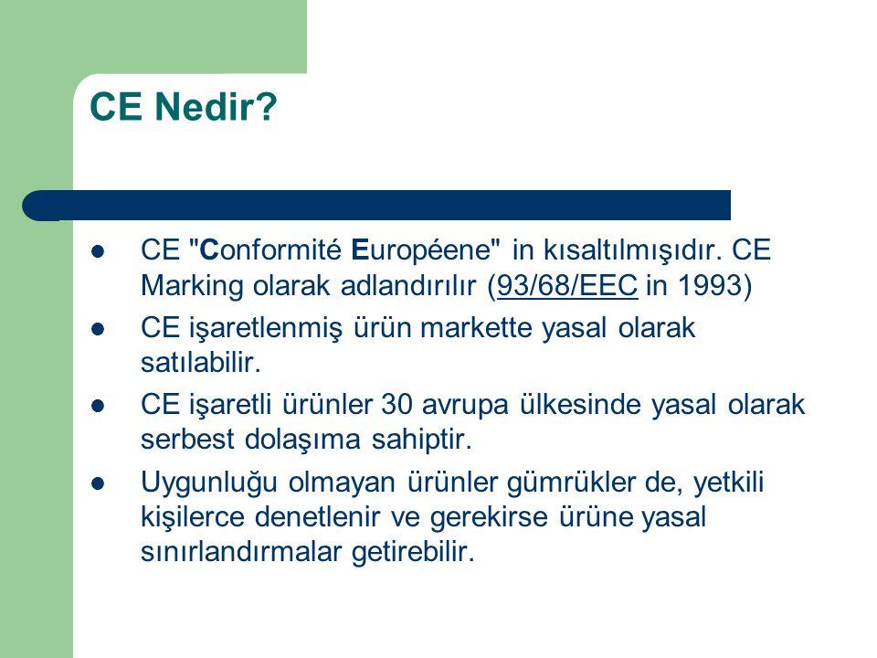 CE Nedir CE Conformité Européene in kısaltılmışıdır. CE Marking olarak adlandırılır (93/68/EEC in 1993)