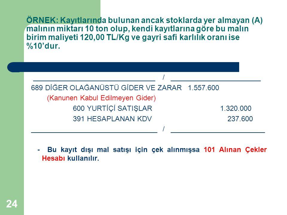 ÖRNEK: Kayıtlarında bulunan ancak stoklarda yer almayan (A) malının miktarı 10 ton olup, kendi kayıtlarına göre bu malın birim maliyeti 120,00 TL/Kg ve gayri safi karlılık oranı ise %10'dur.