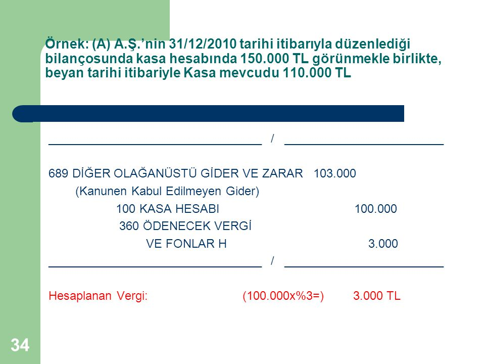Örnek: (A) A.Ş.'nin 31/12/2010 tarihi itibarıyla düzenlediği bilançosunda kasa hesabında 150.000 TL görünmekle birlikte, beyan tarihi itibariyle Kasa mevcudu 110.000 TL