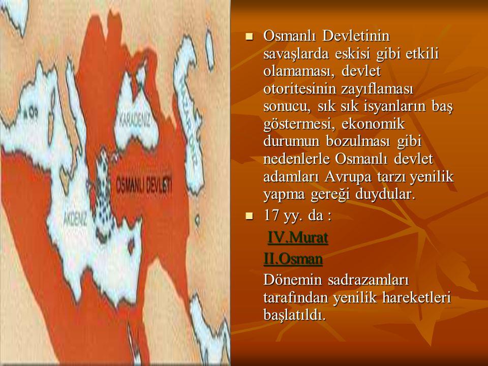 Osmanlı Devletinin savaşlarda eskisi gibi etkili olamaması, devlet otoritesinin zayıflaması sonucu, sık sık isyanların baş göstermesi, ekonomik durumun bozulması gibi nedenlerle Osmanlı devlet adamları Avrupa tarzı yenilik yapma gereği duydular.