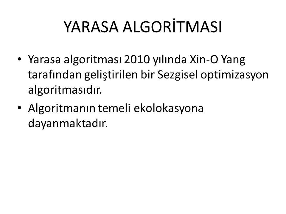 YARASA ALGORİTMASI Yarasa algoritması 2010 yılında Xin-O Yang tarafından geliştirilen bir Sezgisel optimizasyon algoritmasıdır.