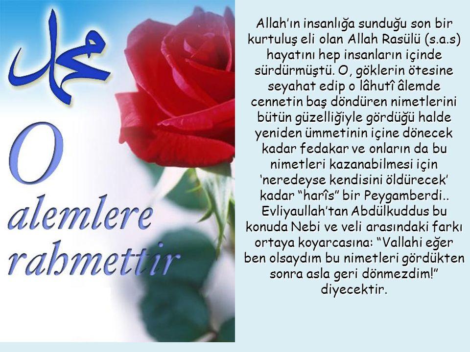 Allah'ın insanlığa sunduğu son bir kurtuluş eli olan Allah Rasülü (s.a.s) hayatını hep insanların içinde sürdürmüştü.