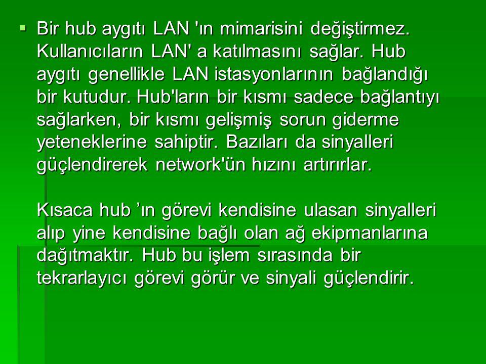 Bir hub aygıtı LAN ın mimarisini değiştirmez