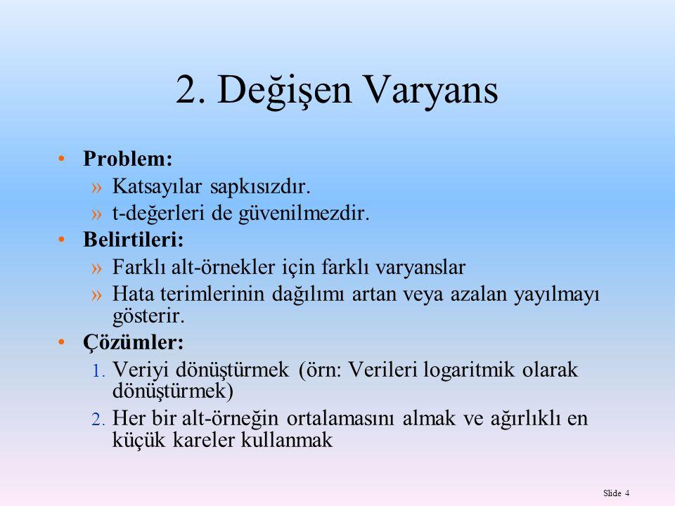 2. Değişen Varyans Problem: Katsayılar sapkısızdır.