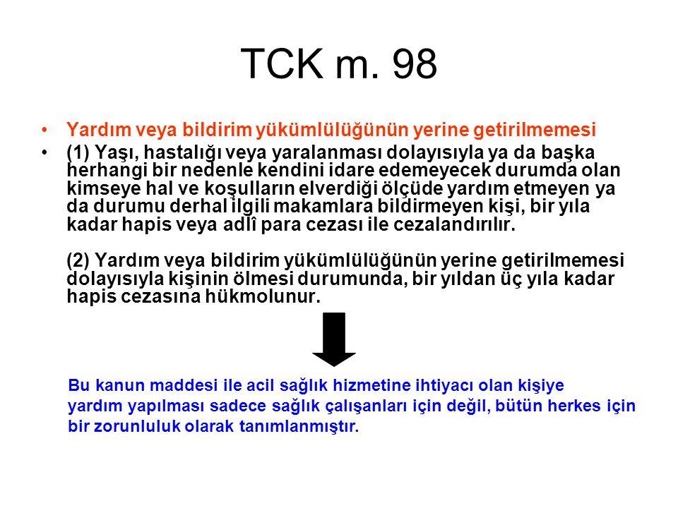 TCK m. 98 Yardım veya bildirim yükümlülüğünün yerine getirilmemesi
