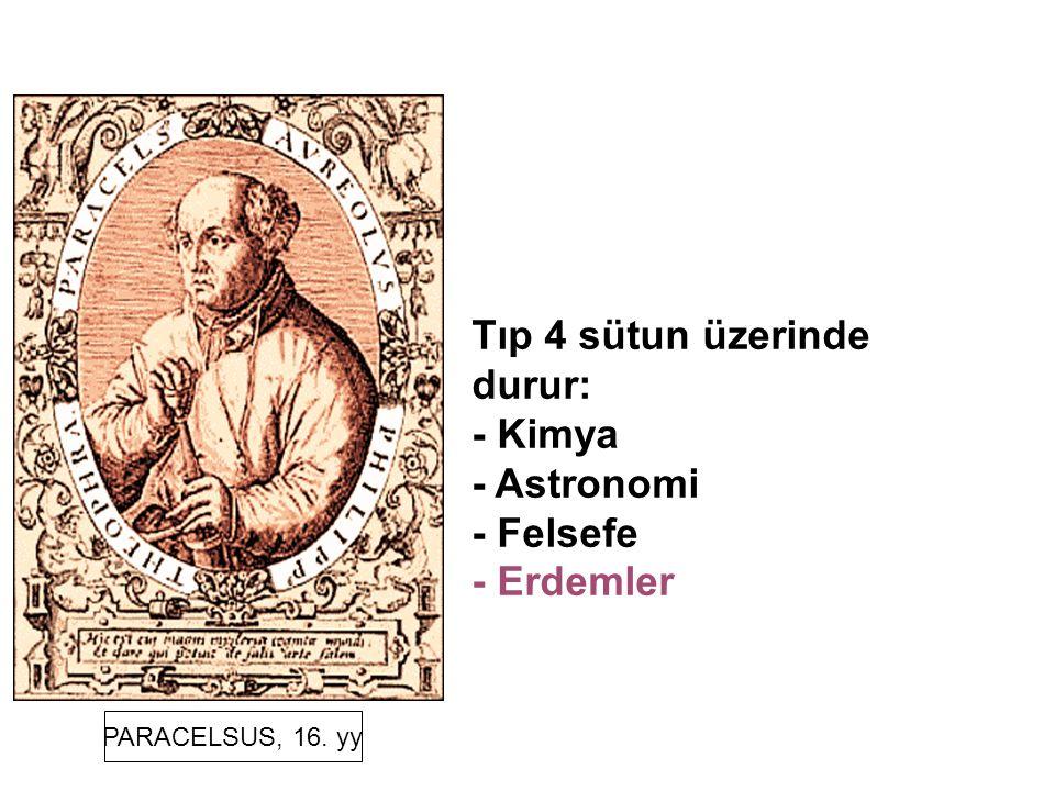 Tıp 4 sütun üzerinde durur: - Kimya - Astronomi - Felsefe - Erdemler