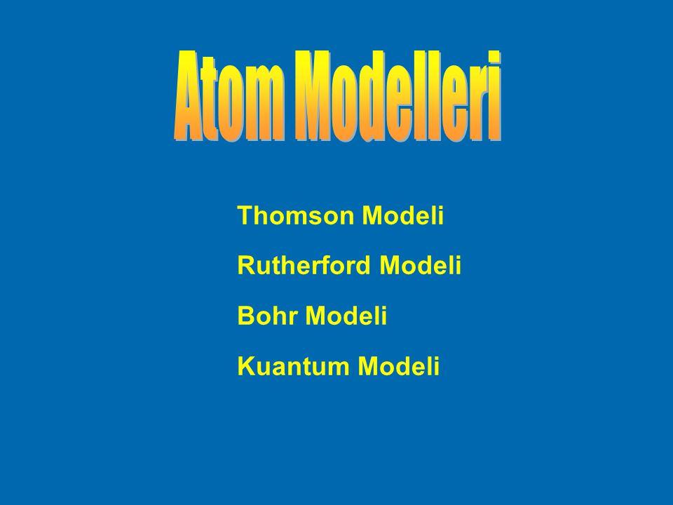 Atom Modelleri Thomson Modeli Rutherford Modeli Bohr Modeli