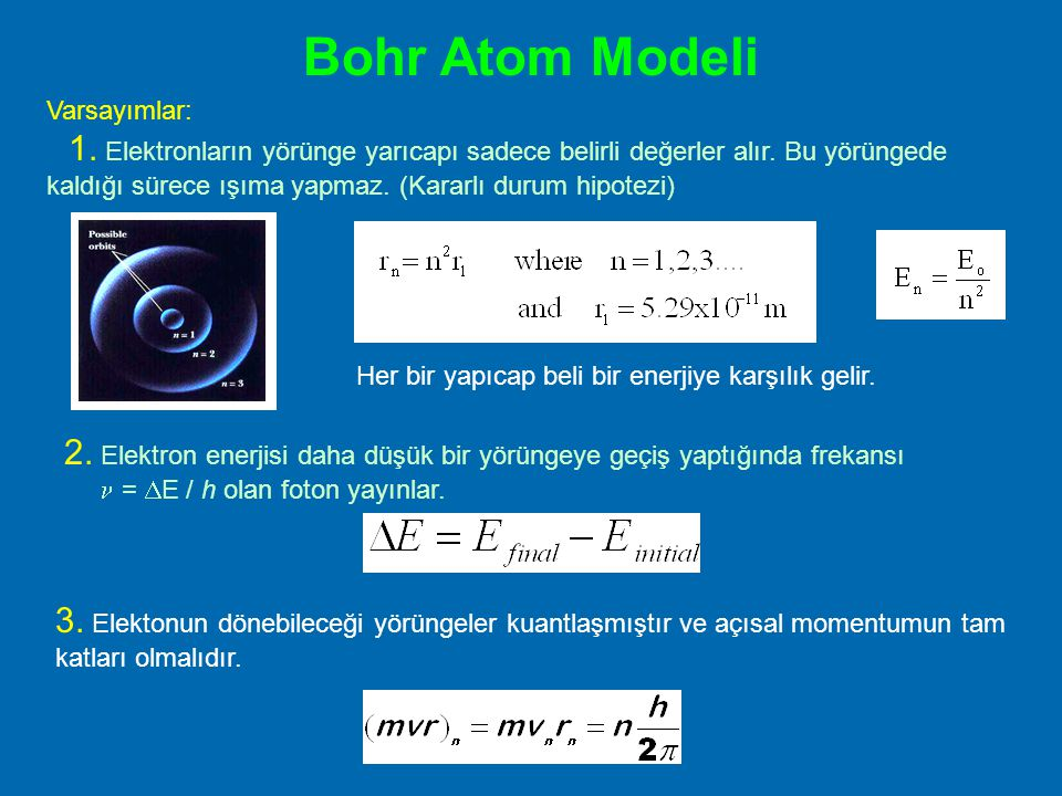 Bohr Atom Modeli Varsayımlar: